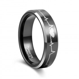 Black Heartbeat Tungsten Rings