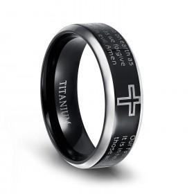Black Titanium Cross Rings