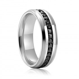 Black Cubic Zirconia Titanium Rings