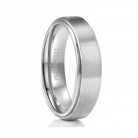 Unisex Silver Titanium Wedding Bands