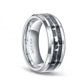 Black Heartbeat Titanium Ring
