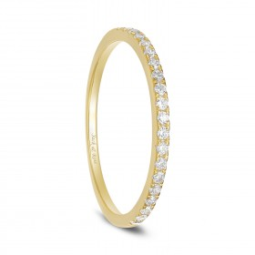 Gold CZ Stackable Ring in Sterling Silver