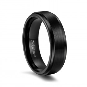 Brushed Tungsten Bands Black Stepped Edge
