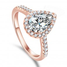Rose Gold/Silver 925 Sterling Silver Water-drop Shape Rings