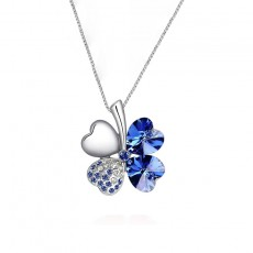 925 Sterling Silver Lucky Four Leaf Clover Necklace with Swarovski Crystal Element