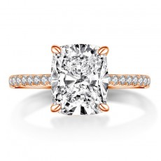 Cushion Cut Sona Diamond Rings Rose Gold