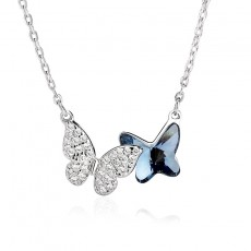 Sterling Silver Beautiful Blue Crystal Butterfly Flying Necklace