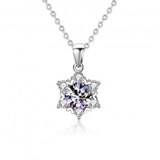 925 Sterling Silver Snowflake Necklace with Moissanite Stone