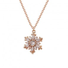 S925 Sterling Silver Snowflake Love Necklace