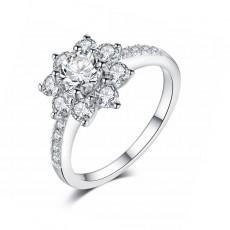 Flower Ring Sona Diamond in Sterling Silver