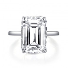 Emerald Cut Sona Solitaire Diamond Rings