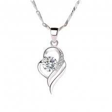 S999 Sterling Silver Fashion Heart Pendant Necklace