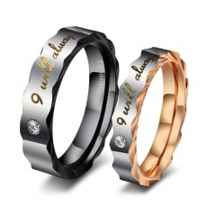 Rose Gold and Black Couple Rings in Titanium Steel