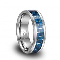 Blue Carbon Fiber Tungsten Rings
