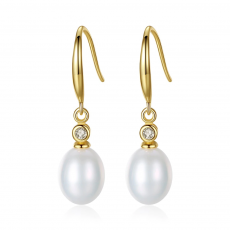 Freshwater Natural Pearl Drop Earrings in 925 Sterling Silver
