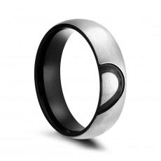Half Heart Black Titanium Rings