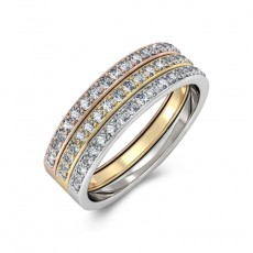 Wedding Band Trinity Ring Sterling Silver Embellished with Crystals from Swarovski