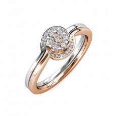 Two Tone Engagement Rings Sterling Silver Embellished with Crystals from Swarovski