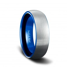 Blue and Silver Tungsten Carbide Wedding Bands