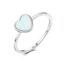 Opal Heart Rings in Sterling Silver