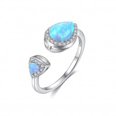 Teardrop Opal Ring Adjustable in Sterling Silver