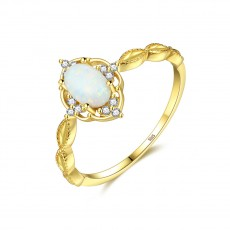 White Fire Opal Halo Sterling Silver Rings