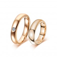 Rose Gold Tungsten CZ Couple Rings