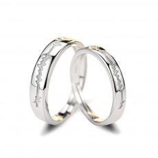 Heartbeat Sterling Silver Couple Rings