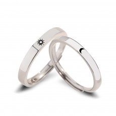Sun and Moon Sterling Silver Couple Rings