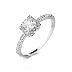 Princess Cut CZ Rings in Sterling Silver
