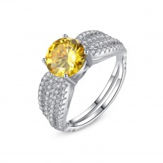 Yellow Gemstone Sterling Silver Rings with Cz