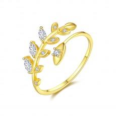 Vine Leaves Sterling Silver Cz Rings