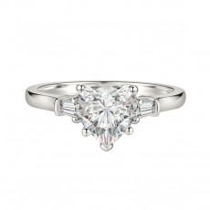 Heart Shaped Sona Diamond Ring Sterling Silver
