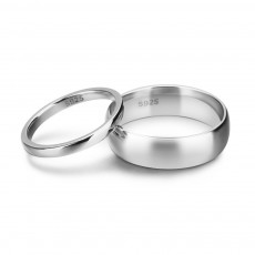 Simple Polished Sterling Silver Couple Rings