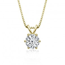 Classic Round Cut 1.0 Carat Moissanite Diamond Pendant Necklace 925 Sterling Silver
