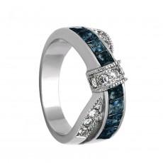 Blue Titanium Steel Engagement Rings