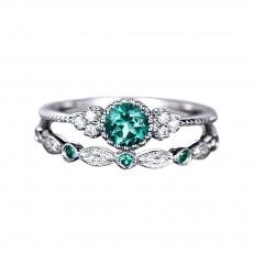 Titanium Steel Horizon Halo gemstone rings