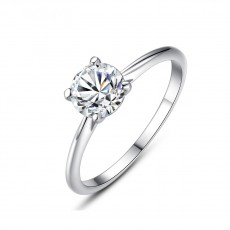 CZ Wedding Rings in Sterling Silver