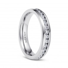 Women Titanium Rings With CZ Inlay