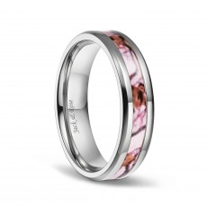 Pink Camo Wedding Rings in Titanium