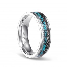 Turquoise Imitated Meteorite Ring in Titanium