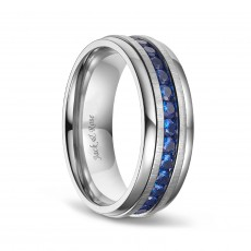 Blue Cubic Zirconia Rings in Titanium