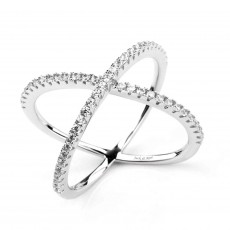 Cubic Zirconia Criss Cross Sterling Silver Rings