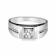 Mens Sterling Silver Rings Inlaid Cubic Zirconia