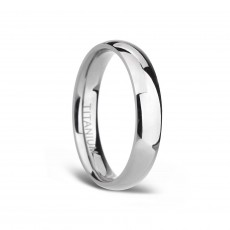 Silver Domed Polished Bands in Titanium