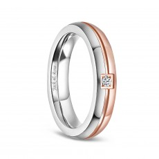 Rose Gold  and Silver Titanium Wedding Rings