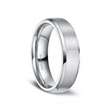 Brushed Matte Finish Titanium Engagement Rings