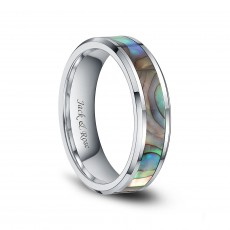 Abalone Shell Tungsten Wedding Ring