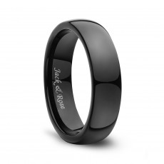 Black Domed Polished Tungsten Rings
