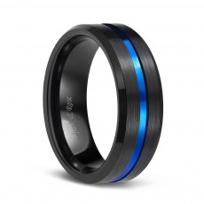 Brushed Black Tungsten Band with Blue Groove